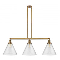 Innovations Lighting 213-BB-G44-L X-Large Cone 3 Light 44 inch Brushed Brass Island Light Ceiling Light, Franklin Restoration