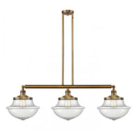 Innovations Lighting 213-BB-G544 Large Oxford 3 Light 42 inch Brushed Brass Island Light Ceiling Light Franklin Restoration