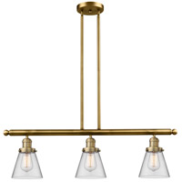 Signature 3 Light 36 inch Brushed Brass Island Light Ceiling Light, Small, Cone