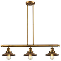 Innovations Lighting 213-BB-M4 Railroad 3 Light 41 inch Brushed Brass Island Light Ceiling Light, Franklin Restoration photo thumbnail
