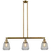 Innovations Lighting 213-BB-S-G142 Chatham 3 Light 39 inch Brushed Brass Island Light Ceiling Light, Adjustable