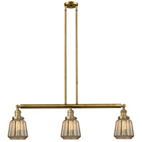 Innovations Lighting 213-BB-S-G146 Chatham 3 Light 39 inch Brushed Brass Island Light Ceiling Light, Adjustable