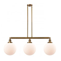 Innovations Lighting 213-BB-S-G201-10-LED X-Large Beacon LED 42 inch Brushed Brass Island Light Ceiling Light Franklin Restoration
