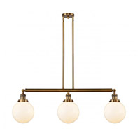 Innovations Lighting 213-BB-S-G201-8 Large Beacon 3 Light 41 inch Brushed Brass Island Light Ceiling Light Franklin Restoration