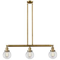 Innovations Lighting 213-BB-S-G202-6 Beacon 3 Light 39 inch Brushed Brass Island Light Ceiling Light Adjustable