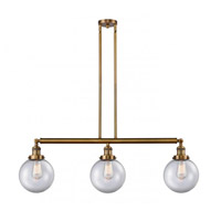 Innovations Lighting 213-BB-S-G202-8 Large Beacon 3 Light 41 inch Brushed Brass Island Light Ceiling Light Franklin Restoration