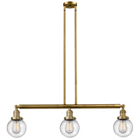 Innovations Lighting 213-BB-S-G204-6 Beacon 3 Light 39 inch Brushed Brass Island Light Ceiling Light Adjustable