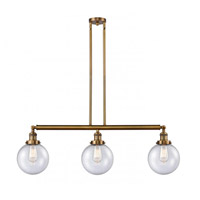 Innovations Lighting 213-BB-S-G204-8 Large Beacon 3 Light 41 inch Brushed Brass Island Light Ceiling Light Franklin Restoration
