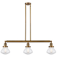 Innovations Lighting 213-BB-S-G324-LED Olean LED 39 inch Brushed Brass Island Light Ceiling Light Franklin Restoration