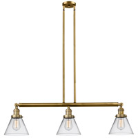 Innovations Lighting 213-BB-S-G42-L X-Large Cone 3 Light 44 inch Brushed Brass Island Light Ceiling Light Franklin Restoration