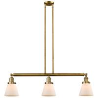 Innovations Lighting 213-BB-S-G61 Small Cone 3 Light 39 inch Brushed Brass Island Light Ceiling Light Adjustable