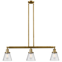 Innovations Lighting 213-BB-S-G64-LED Small Cone LED 39 inch Brushed Brass Island Light Ceiling Light Adjustable