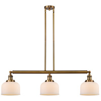 Innovations Lighting 213-BB-S-G71 Large Bell 3 Light 41 inch Brushed Brass Island Light Ceiling Light Franklin Restoration