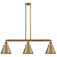Innovations Lighting 213-BB-S-M13-BB Appalachian 3 Light 40 inch Brushed Brass Island Light Ceiling Light Franklin Restoration