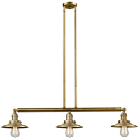 Innovations Lighting 213-BB-S-M4 Railroad 3 Light 41 inch Brushed Brass Island Light Ceiling Light Franklin Restoration
