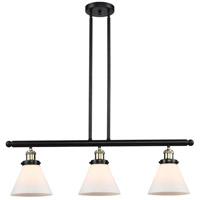 Large Cone 3 Light 36 inch Black and Brushed Brass Island Light Ceiling Light