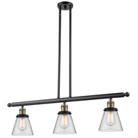 Signature 3 Light 36 inch Black and Brushed Brass Island Light Ceiling Light, Small, Cone