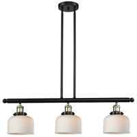 Large Bell 3 Light 36 inch Black and Brushed Brass Island Light Ceiling Light