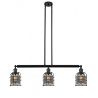 Innovations Lighting 213-BK-G53-CE Small Bell Cage 3 Light 39 inch Matte Black Island Light Ceiling Light Franklin Restoration