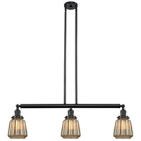 Chatham 3 Light 39 inch Matte Black Island Light Ceiling Light, Adjustable