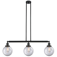 Innovations Lighting 213-BK-S-G202-8 Large Beacon 3 Light 41 inch Matte Black Island Light Ceiling Light Franklin Restoration