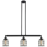 Innovations Lighting 213-BK-S-G58-CE Small Bell Cage 3 Light 40 inch Matte Black Island Light Ceiling Light Franklin Restoration