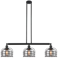 Innovations Lighting 213-BK-S-G73-CE Large Bell Cage 3 Light 42 inch Matte Black Island Light Ceiling Light Franklin Restoration