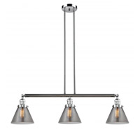 Innovations Lighting 213-PC-G43 Large Cone 3 Light 40 inch Polished Chrome Island Light Ceiling Light Franklin Restoration