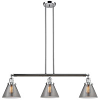 Large Cone 3 Light 40 inch Polished Chrome Island Light Ceiling Light