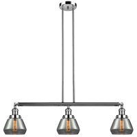 Innovations Lighting 213-PN-S-G173 Fulton 3 Light 39 inch Polished Nickel Island Light Ceiling Light Adjustable
