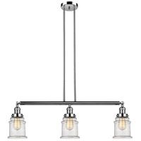 Innovations Lighting 213-PN-S-G184 Canton 3 Light 39 inch Polished Nickel Island Light Ceiling Light Adjustable