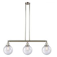 Innovations Lighting 213-PN-S-G204-8-LED Large Beacon LED 41 inch Polished Nickel Island Light Ceiling Light Franklin Restoration