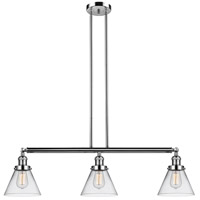 Innovations Lighting 213-PN-S-G42 Large Cone 3 Light 40 inch Polished Nickel Island Light Ceiling Light Adjustable