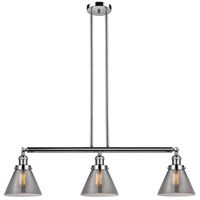 Innovations Lighting 213-PN-S-G43 Large Cone 3 Light 40 inch Polished Nickel Island Light Ceiling Light Adjustable