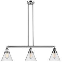 Innovations Lighting 213-PN-S-G44 Large Cone 3 Light 40 inch Polished Nickel Island Light Ceiling Light Adjustable