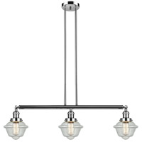 Innovations Lighting 213-PN-S-G534 Small Oxford 3 Light 40 inch Polished Nickel Island Light Ceiling Light Franklin Restoration