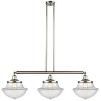 Innovations Lighting 213-PN-S-G542 Large Oxford 3 Light 42 inch Polished Nickel Island Light Ceiling Light Franklin Restoration