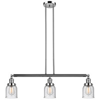 Innovations Lighting 213-PN-S-G54 Small Bell 3 Light 38 inch Polished Nickel Island Light Ceiling Light Franklin Restoration