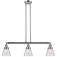 Innovations Lighting 213-PN-S-G62 Small Cone 3 Light 39 inch Polished Nickel Island Light Ceiling Light Adjustable