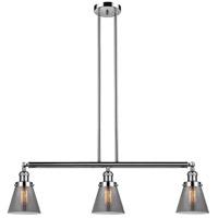 Innovations Lighting 213-PN-S-G63 Small Cone 3 Light 39 inch Polished Nickel Island Light Ceiling Light Adjustable