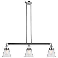 Innovations Lighting 213-PN-S-G64 Small Cone 3 Light 39 inch Polished Nickel Island Light Ceiling Light Adjustable