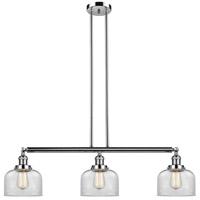 Innovations Lighting 213-PN-S-G72 Large Bell 3 Light 41 inch Polished Nickel Island Light Ceiling Light Adjustable