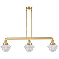Innovations Lighting 213-SG-G534 Small Oxford 3 Light 40 inch Satin Gold Island Light Ceiling Light Franklin Restoration