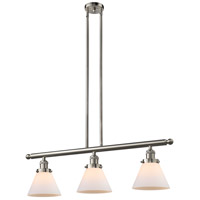 Innovations Lighting 213-SN-G41 Signature 3 Light 36 inch Brushed Satin Nickel Island Light Ceiling Light, Large, Cone