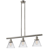 Innovations Lighting 213-SN-G42 Signature 3 Light 36 inch Brushed Satin Nickel Island Light Ceiling Light Large Cone