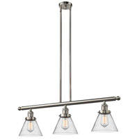 Innovations Lighting 213-SN-G44 Signature 3 Light 36 inch Brushed Satin Nickel Island Light Ceiling Light, Large, Cone