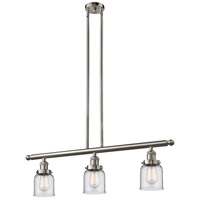 Signature 3 Light 36 inch Brushed Satin Nickel Island Light Ceiling Light, Small, Bell