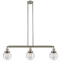 Innovations Lighting 213-SN-S-G204-6-LED Beacon LED 39 inch Brushed Satin Nickel Island Light Ceiling Light Adjustable