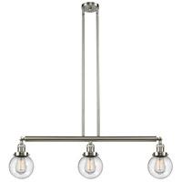 Innovations Lighting 213-SN-S-G204-6 Beacon 3 Light 39 inch Brushed Satin Nickel Island Light Ceiling Light Adjustable