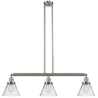 Innovations Lighting 213-SN-S-G42 Large Cone 3 Light 40 inch Brushed Satin Nickel Island Light Ceiling Light, Adjustable photo thumbnail
